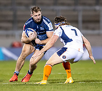 19th December 2020; AJ Bell Stadium, Salford, Lancashire, England; European Champions Cup Rugby, Sale Sharks versus Edinburgh; Sam Hill of Sale Sharks about to be tackled by Hamish Watson of Edinburgh Rugby