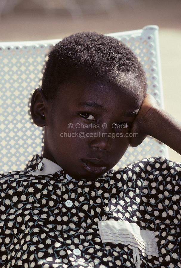 Niamey, Niger, West Africa.  Malian Songhrai, Halidou Maiga, from Ansongo, Eastern Mali.  This boy lives in Niamey, Niger.