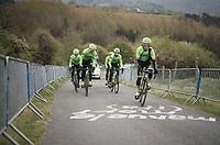 Team Cannondale-Drapac during the 103rd Liège-Bastogne-Liège 2017 recon ride