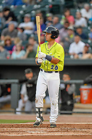 Shortstop Jeremy Vasquez (20) of the Columbia Fireflies bats in a game against the Augusta GreenJackets on Friday, April 6, 2018, at Spirit Communications Park in Columbia, South Carolina. Columbia won, 7-2. (Tom Priddy/Four Seam Images)