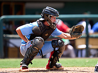 Seabreeze Sandcrabs catcher Canyon Brown (9) during the 42nd Annual FACA All-Star Baseball Classic on June 6, 2021 at Joker Marchant Stadium in Lakeland, Florida.  (Mike Janes/Four Seam Images)