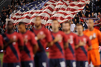 United States starting eleven duringthe playing of the national anthem. The men's national team of the United States (USA) was defeated by Ecuador (ECU) 1-0 during an international friendly at Red Bull Arena in Harrison, NJ, on October 11, 2011.