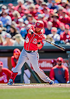 29 February 2020: Washington Nationals designated hitter Yadiel Hernandez in action during a Spring Training game against the St. Louis Cardinals at Roger Dean Stadium in Jupiter, Florida. The Cardinals defeated the Nationals 6-3 in Grapefruit League play. Mandatory Credit: Ed Wolfstein Photo *** RAW (NEF) Image File Available ***