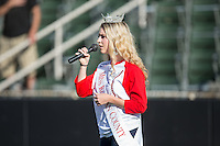 Miss Rowan County, Ashley Sacks, sings the National Anthem prior to the South Atlantic League game between the Augusta GreenJackets and the Kannapolis Intimidators at Intimidators Stadium on May 30, 2016 in Kannapolis, North Carolina.  The GreenJackets defeated the Intimidators 5-3.  (Brian Westerholt/Four Seam Images)