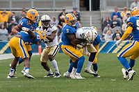 Pitt defensive back Jordan Whitehead (9) makes a tackle. The Pitt Panthers defeated the Georgia Tech Yellow Jackets 37-34 at Heinz Field in Pittsburgh, Pennsylvania on October 08, 2016.