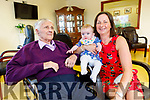 Jeremiah Sheehy from Duagh, who is a resident in the Oaklands Nurshing Home in Listowel, meets his great grand daughter Demi Stryker for the first time on Tuesday with her grandmother Roseleen Sheehy.