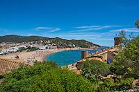 Spain, Costa Brava, Catalonia, Tossa de Mar. Rampart, old walled part of town.