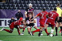 16th October 2020, Stade Maurice David, Aix-en-Provence, France;  Challenge Cup Rugby Final Bristol Bears versus RC Toulon;  Callum Sheedy (Bristol Bears) tackled by Gabin Villiere (RC Toulon)