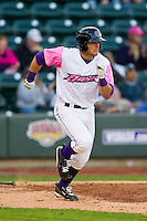 Grant Buckner (28) of the Winston-Salem Dash hustles down the first base line against the Wilmington Blue Rocks at BB&T Ballpark on April 20, 2013 in Winston-Salem, North Carolina.  The Dash defeated the Blue Rocks 4-2 in game one of a double-header.  (Brian Westerholt/Four Seam Images)