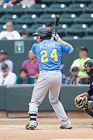 Jorge Alfaro (24) of the Myrtle Beach Pelicans at bat against the Winston-Salem Dash at BB&T Ballpark on May 7, 2014 in Winston-Salem, North Carolina.  The Pelicans defeated the Dash 5-4 in 11 innings.  (Brian Westerholt/Four Seam Images)