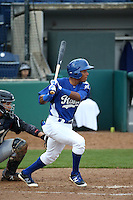 Erick Mejia (9) of the Rancho Cucamonga Quakes bats against the Lake Elsinore Storm at LoanMart Field on April 10, 2016 in Rancho Cucamonga, California. Lake Elsinore defeated Rancho Cucamonga, 7-6. (Larry Goren/Four Seam Images)