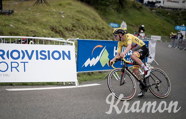 yellow jersey / GC leader Tadej Pogacar (SVN/UAE-Emirates) up Luz Ardiden sprinting towards victory once again<br /> <br /> Stage 18 from Pau to Luz Ardiden (130km)<br /> 108th Tour de France 2021 (2.UWT)<br /> <br /> ©kramon