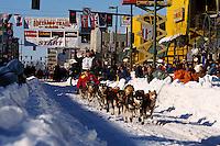A sled team at the start of the Iditarod. Alaska.