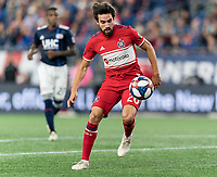 FOXBOROUGH, MA - AUGUST 25: Nicolas Gaitan #20 of Chicago Fire controls the ball during a game between Chicago Fire and New England Revolution at Gillette Stadium on August 24, 2019 in Foxborough, Massachusetts.