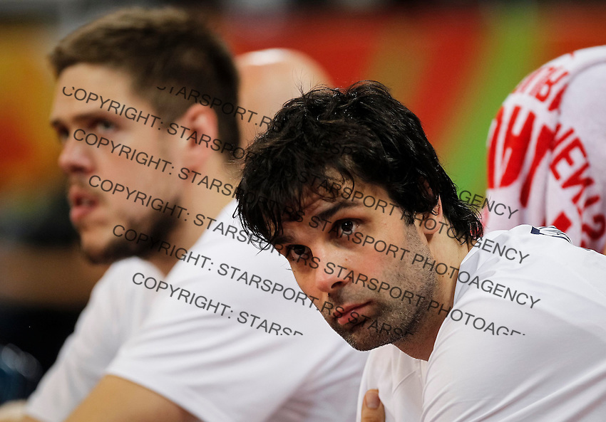 Kosarka FIBA Olympic Basketball Qualifying Tournament-FINAL<br /> Serbia v Puerto Rico<br /> Milos Teodosic (R) and Vladimir Stimac<br /> Beograd, 09.07.2016.<br /> foto: Srdjan Stevanovic/Starsportphoto©