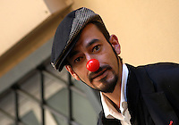"""MILOUD OUKILI.Photocall for the film """"Parada"""" in .Rome, Italy, September 17th 2008..portrait headshot red nose funny hat cap.CAP/CAV.©Luca Cavallari/Capital Pictures"""