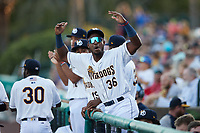 Patrick Merino (36) of the Charleston RiverDogs celebrates during the game against the Down East Wood Ducks at Joseph P. Riley, Jr. Park on September 26, 2021 in Charleston, South Carolina. (Brian Westerholt/Four Seam Images)