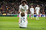 Real Madrid's Luka Modric and Marcelo Vieira during La Liga match. March 20,2016. (ALTERPHOTOS/Borja B.Hojas)