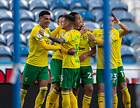 12th September 2020 The John Smiths Stadium, Huddersfield, Yorkshire, England; English Championship Football, Huddersfield Town versus Norwich City;  Adam Idah of Norwich City celebrates as he scores for Norwich in 80th minute for 0-1