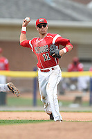 Batavia Muckdogs shortstop Aaron Blanton (11) throws to first during the first game of a doubleheader against the Connecticut Tigers on July 20, 2014 at Dwyer Stadium in Batavia, New York.  Connecticut defeated Batavia 5-3.  (Mike Janes/Four Seam Images)