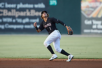 Kannapolis Intimidators second baseman Ramon Beltre (1) on defense against the Lakewood BlueClaws at Kannapolis Intimidators Stadium on July 18, 2019 in Kannapolis, North Carolina. The Intimidators defeated the BlueClaws 7-1. (Brian Westerholt/Four Seam Images)
