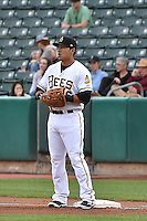 Efren Navarro (16) of the Salt Lake Bees during the game against the Reno Aces at Smith's Ballpark on May 4, 2014 in Salt Lake City, Utah.  (Stephen Smith/Four Seam Images)