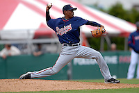 Pitcher Julio Teheran #27 of the Gwinnett Braves during a game versus the Pawtucket Red Sox on May 12, 2011 at McCoy Stadium in Pawtucket, Rhode Island. Photo by Ken Babbitt /Four Seam Images