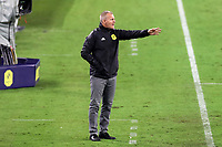 NASHVILLE, TN - SEPTEMBER 23: Head coach Gary Smith of Nashville SC instructs his players during a game between D.C. United and Nashville SC at Nissan Stadium on September 23, 2020 in Nashville, Tennessee.