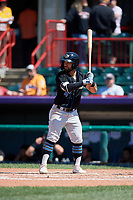 Akron RubberDucks Ka'ai Tom (4) at bat during an Eastern League game against the Erie SeaWolves on June 2, 2019 at UPMC Park in Erie, Pennsylvania.  Erie defeated Akron 8-5 in eleven innings of the second game of a doubleheader.  (Mike Janes/Four Seam Images)