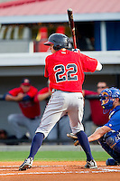 Nick Ahmed #22 of the Danville Braves at bat against the Burlington Royals at Burlington Athletic Park on August 14, 2011 in Burlington, North Carolina.  The Braves defeated the Royals 10-2 in a game called by rain in the bottom of the 8th inning.   (Brian Westerholt / Four Seam Images)