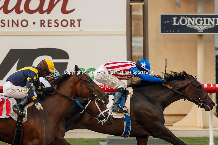 DEL MAR, CA  SEP 6:  #2 Madone, ridden by Flavien Prat, holds on to win the Del Mar Juvenile Fillies Turf at Del Mar Thoroughbred Club on September 6, 2020 in Del Mar, CA.(Photo by Casey Phillips/Eclipse Sportswire/CSM.