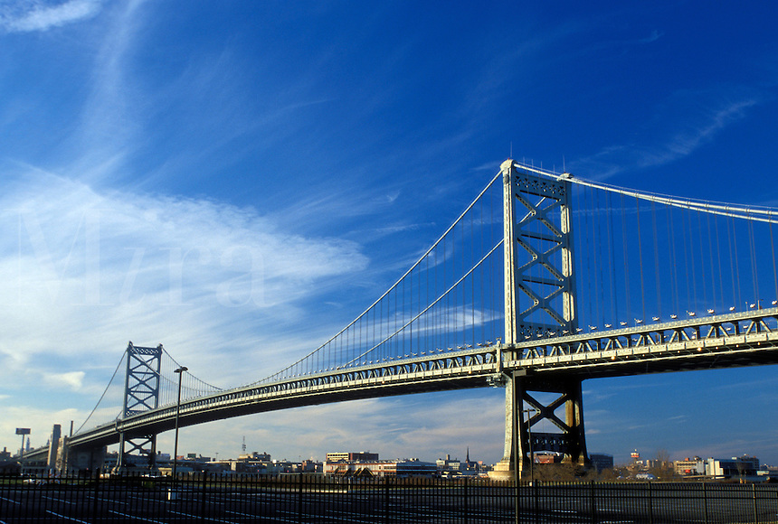 Philadelphia, bridge, PA, Pennsylvania, Benjamin Franklin Bridge crosses the Delaware River connecting Philadelphia and Camden, NJ, New Jersey