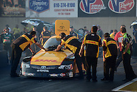 Oct. 5, 2012; Mohnton, PA, USA: NHRA crew members for funny car driver Jeff Arend during qualifying for the Auto Plus Nationals at Maple Grove Raceway. Mandatory Credit: Mark J. Rebilas-