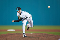 Coastal Carolina Chanticleers relief pitcher Josh Jarman (32) delivers a pitch to the plate against the Illinois Fighting Illini at Springs Brooks Stadium on February 22, 2020 in Conway, South Carolina. The Fighting Illini defeated the Chanticleers 5-2. (Brian Westerholt/Four Seam Images)