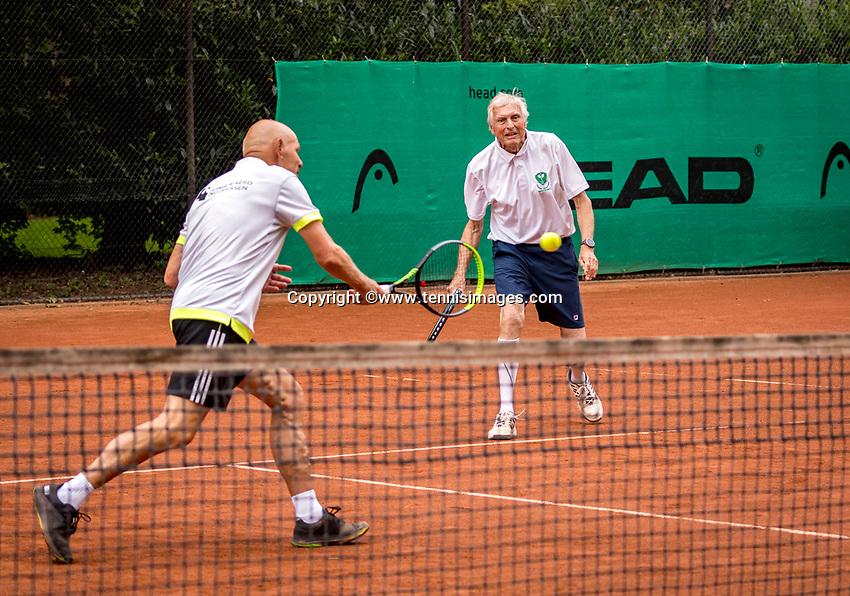 Hilversum, The Netherlands,  August 20, 2021,  Tulip Tennis Center, NKS, National Senior Tennis Championships, Men's Doubles 80+,  Be Lenten (NED) (L) and Peter Blaas (NED)<br /> Photo: Tennisimages/Henk Koster