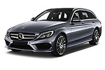 2018 Mercedes Benz C Class AMG Line 5 Door Wagon angular front stock photos of front three quarter view