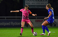 Noemie Fourdin (11 Charleroi) pictured with Lobke Loonen (19 Gent) during a female soccer game between  AA Gent Ladies and Sporting Charleroi Feminin on the fifth matchday of the 2020 - 2021 season of Belgian Scooore Womens Super League , friday 16 th of October 2020  in Oostakker , Belgium . PHOTO SPORTPIX.BE | SPP | DAVID CATRY