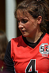 GER - Hannover, Germany, May 30: During the Women Lacrosse Playoffs 2015 match between DHC Hannover (black) and SC Frankfurt 1880 (red) on May 30, 2015 at Deutscher Hockey-Club Hannover e.V. in Hannover, Germany. Final score 23:3. (Photo by Dirk Markgraf / www.265-images.com) *** Local caption *** Sarah Broehl #4 of SC 1880 Frankfurt