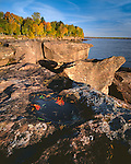Big Bay State Park, WI:  Morning light on sculpted sandstone cliffs and waters of lake Superior on Big Bay Point in autumn on Madeline Island, Apostle islands, Ashland County