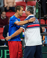 The Hague, The Netherlands, September 15, 2017,  Sportcampus , Davis Cup Netherlands - Chech Republic, Seccond Rubber: Lukas Rosol (CZE) defeats Haase and put Chech Republic in a comfortable 0-2 and is congratulated by captain Navratil <br /> Photo: Tennisimages/Henk Koster