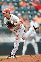 Pitcher Ryan Duke #17 of the Oklahoma Sooners pitches against the Texas Longhorns in NCAA Big XII baseball on May 1, 2011 at Disch Falk Field in Austin, Texas. (Photo by Andrew Woolley / Four Seam Images)