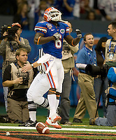 01 January 2010:  Deonte Thompson of Florida celebrates after scoring a touchdown during the game against Cincinnati during Sugar Bowl at the SuperDome in New Orleans, Louisiana.  Florida defeated Cincinnati, 51-24.