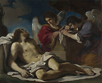 Full title: The Dead Christ mourned by Two Angels<br /> Artist: Guercino<br /> Date made: about 1617-18