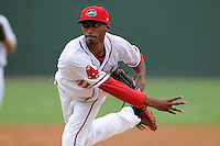 Pitcher Sergio Gomez (18) of the Greenville Drive in a game against the Lexington Legends on Monday, August 18, 2013, at Fluor Field at the West End in Greenville, South Carolina. Lexington won, 5-0. (Tom Priddy/Four Seam Images)