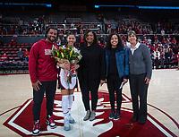 Stanford, CA - February 9, 2020: Anna Wilson, Tara VanDerveer at Maples Pavilion. Stanford Women's Basketball defeated the USC Trojans 79-59 on their Senior Night and celebration of National Girls and Women in Sports Day.