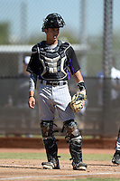 Colorado Rockies catcher Will Swanner (38) during an instructional league game against the Milwaukee Brewers on October 1, 2013 at Maryvale Baseball Park Training Complex in Phoenix, Arizona.  (Mike Janes/Four Seam Images)