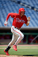 Philadelphia Phillies third baseman Alec Bohm (18) runs to first base during a Florida Instructional League game against the Toronto Blue Jays on September 24, 2018 at Spectrum Field in Clearwater, Florida.  (Mike Janes/Four Seam Images)