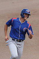 South Bend Cubs first baseman Bryce Ball (22) rounds third base during a game against the Wisconsin Timber Rattlers on July 21, 2021 at Neuroscience Group Field at Fox Cities Stadium in Grand Chute, Wisconsin.  (Brad Krause/Four Seam Images)