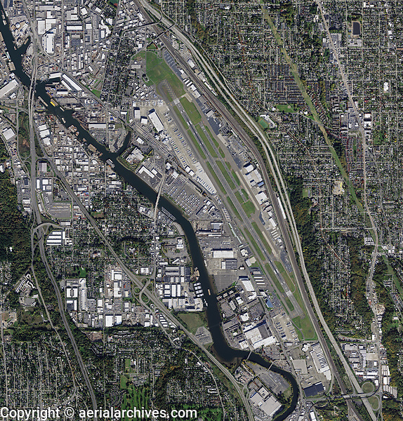 aerial map of Boeing Field, King County International Airport, (BFI) King County, Washington
