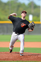 GCL Orioles pitcher Steve Johnson (54), on rehab assignment,  during a game against the GCL Rays on July 20, 2013 at Charlotte Sports Complex in Port Charlotte, Florida.  GCL Orioles defeated the GCL Rays 4-1.  (Mike Janes/Four Seam Images)